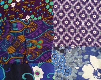 vintage fabric samples - 1970 fabric sample collection - PURPLE - 6 pieces