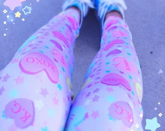 Conversation Candy Heart Leggings, Fairy Kei Leggings, Convo Hearts Tights, Candy Heart Leggings SALE!!