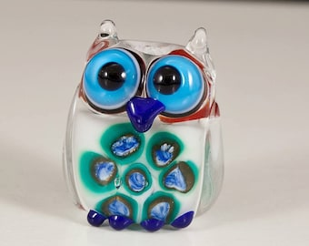 White Blue Green Owl Lampwork Bead