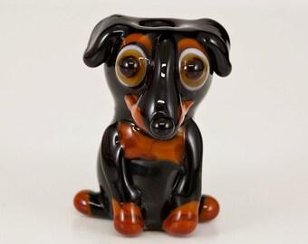 Floppy Eared Doberman Lampwork Dog Bead