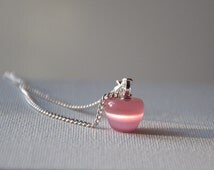 Valentine gift for her Pink opal apple necklace cat eye Gemstone pendant necklace silver plated jewelry jewellery Birthday gift for her