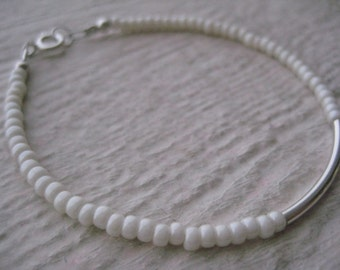 Sterling Silver Bar & Ivory Seed Beads- Tube, Simple, Gift, Jewelsbyn, Jewelsbynancy, Connector