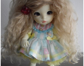 Beige Blond tibetan mohair wig for lati yellow/pukifee/tiny delf