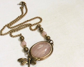 Rose quartz gemstone necklace. Pink blush glass beads. Brass dragonfly.