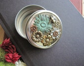 Flower Tin, Bee Jewelry Box, Bee Tin, Gift Tin, Round, Verdigris, Nature Inspired, Bridesmaid Gift, Metal, Flower Art, Pill Box, Storage Tin