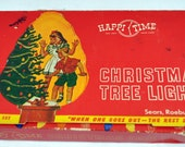 Vintage Christmas Lights - Happy Time Sears Working 7 Light C7 Red & Green Cord Box