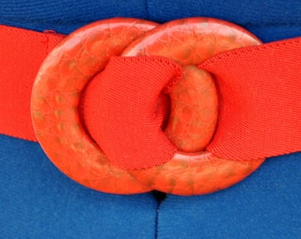 Vintage Red Stretch Belt with Faux Snake  Skin Buckle