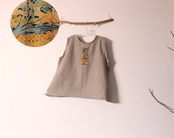 natural linen top with kimono silk motif size XL or XXL ready to wear