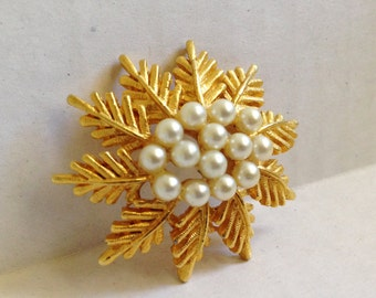 Vintage Gold Tone and Pearl Snowflake or Pine Tree Star Brooch Pin
