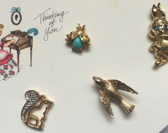 Vintage lot of cute animals pins bird squirrel pony goldtone avon jewelry