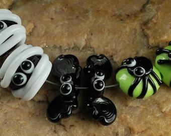Lampwork Glass Beads, Halloween, Bats, Mummies, Spiderss SRA #871 by CC Design