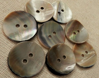 SALE VINTAGE BUTTONS 8 Real Shell Reversible