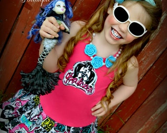 girls MONSTER dress Ghouls night Out 2T 3T 4T 5T 4/5 6/6X 7/8 10/12 and 14/16