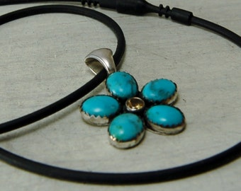 American Turquoise Flower Pendant with Amethyst Turquoise Necklace