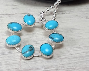 SLEEPING BEAUTY Turquoise Sterling Silver Pinwheel Necklace