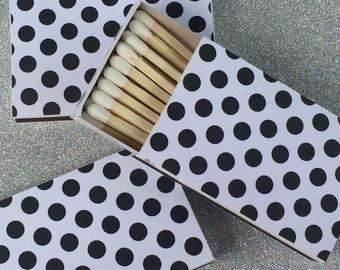 10 Matchbox Favors black white polka dot Personalized Custom Sparkler Perfect Match Cigar Bar Art Deco Sparks Flew Bridal Rehearsal Dinner