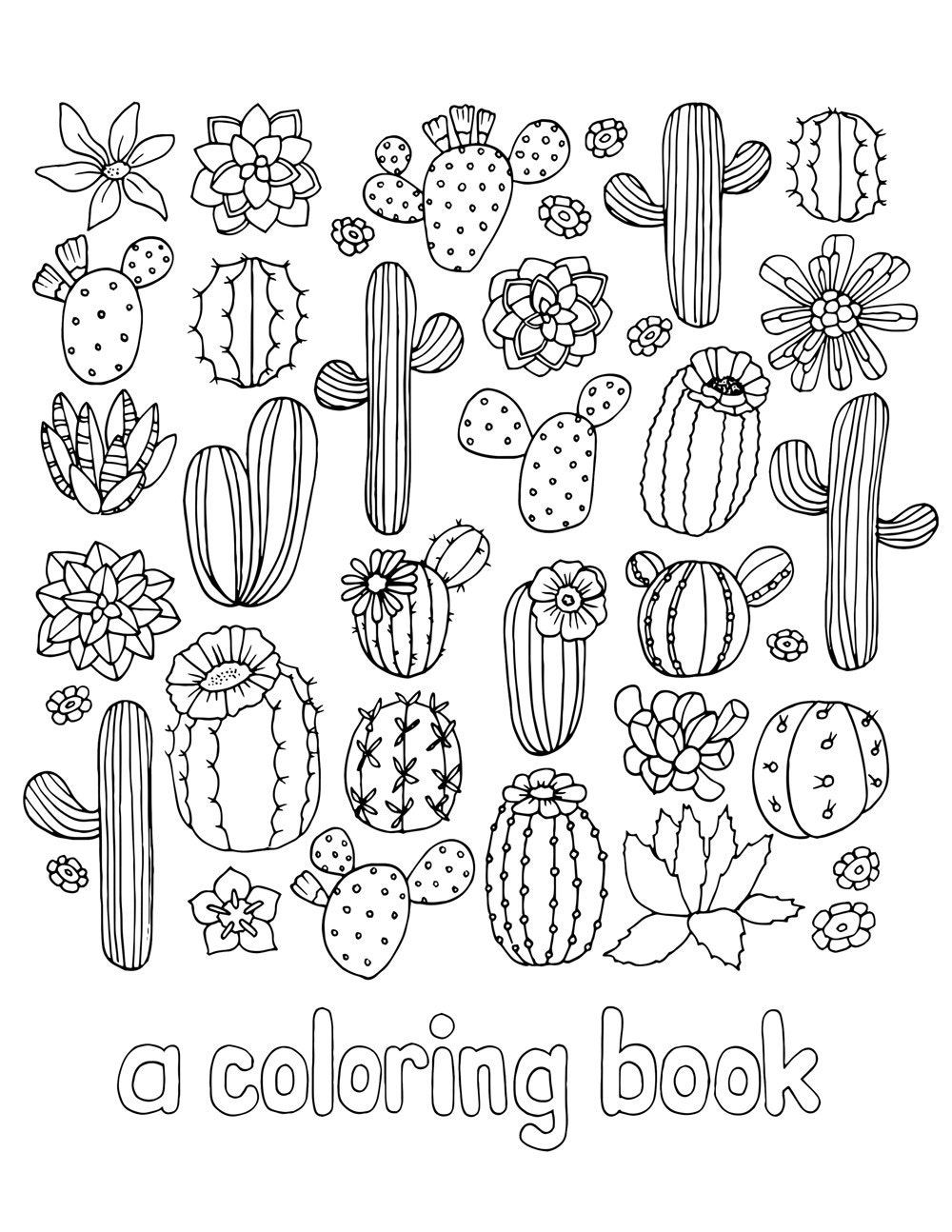 Digital Download Cactus and Succulent Adult Coloring Book