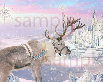 Value pack -Magical snow castle digital backgrounds for your photo projects