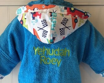 Kids-Bath-Robe-Personalized-Race-Car-Hooded-Bathrobes-Children-Boys-Nautical-Beach-Towel-Swimwear-Terry-Cover Up-Baby-Toddler-Teen-Gift