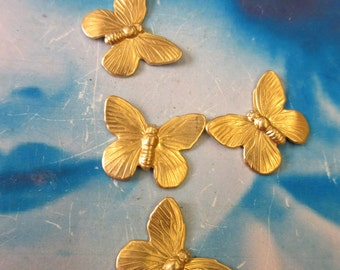 Raw Brass Butterfly Stampings  1080RAW  x4
