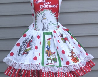 Ready to Ship Custom Boutique Grinch Christmas Holiday Whoville Girl Dress Size 5 / 6