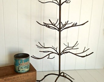LAST ONE large rustic 3 layer jewelry ornament tree with bird - hand painted vintage brass display - great for shop display, craft show