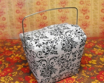 Summer Stock Up Sale 6 Pack Small White Chinese Take Out Style Boxes with Black Damask Pattern Perfect for Wedding Favors, Party Packs, etc.
