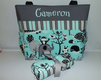 Teal JUNGLE  w/ Stripes  Personalized  Diaper Bag  SET ... Bottle POCKETS .... Free Monogram .. ZiPPER Available