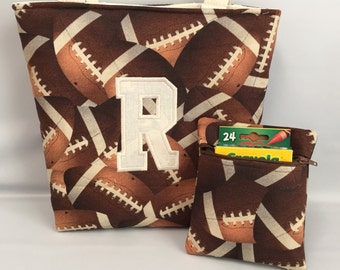 FOOTBALL ... BOY's  Tote and Crayon Pouch SET ...  ... Child Size  Bag  ...  Ring Bearer .. Baseball, Soccer, Basketball also Available