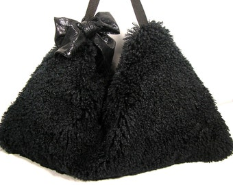 SALE HANDBAGS Faux Fur Hobo Bag Black Faux Fur Hobo Bag Faux Fur Shoulder Bag Faux Fur Purses Black Faux Fur Purses  Mother's Day Gifts