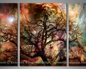 "Heaven & Earth: The Dream Oak - 3 Panel Triptych 36"" x 24"" Stretched Canvas Surreal Fantasy Home Decor Fine Art Print by Kenneth Rougeau"