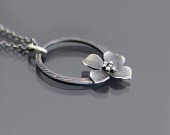 Dogwood Necklace, botanical necklace, sterling silver circle necklace, dainty necklace, blossom necklace, flower necklace