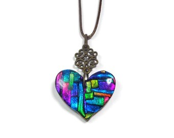 Victorian Heart Necklace- Heart Statement Necklace- polymer clay Jewelry- Gothic Heart Necklace- Faux Dichroic Necklace