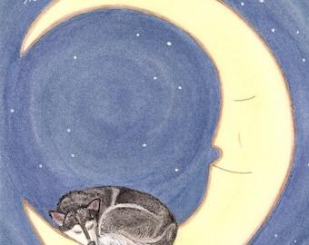 Siberian husky takes a nap on the moon / Lynch signed folk art print