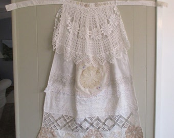white linen, eyelet & doilies Alternative Wedding APRON - Cottage Chic Collage Clothing -  Garden Beach Wearable Art - myBonny