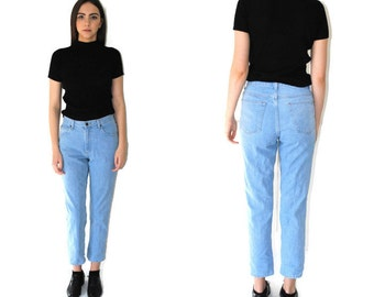 vintage L.L. BEAN jeans 80s 90s minimalist mom jeans faded light wash denim high waisted tapered boyfriend jeans size 28 29