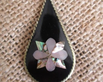 Mexican Alapaca Silver Black Onyx and Shell Teardrop Flower Pendant