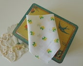 Vintage Hankie Scotty Scottie Westie Dog Printed Retro Hankie Wedding Handkerchief Yellow Green - EnglishPreserves