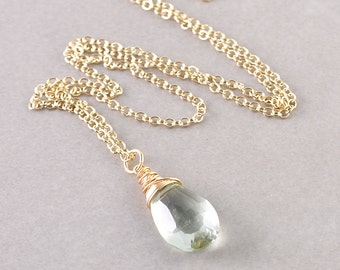 Green Amethyst Necklace, Gemstone Necklace, February Birthstone, Amethyst Pendant
