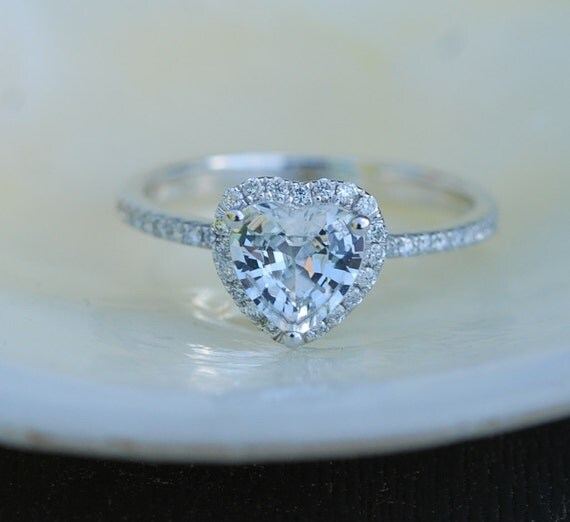 Heart sapphire ring. White sapphire engagement ring. White gold engagement ring. 1.1ct Heart ring 14k white gold diamond ring.