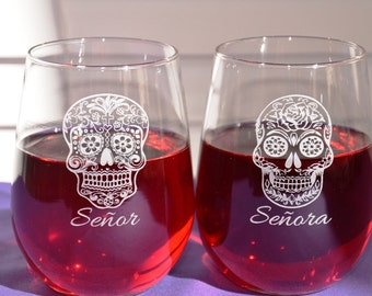 1 Personalized Engraved Custom Sugar Skull Glass~Four Designs~Dia de los Muertos~Day of the Dead~Valentine's Gift~Birthday Gift~Wedding Gift