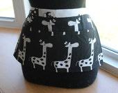 Vendor Apron Server Apron Cash Apron Travel Apron Black White Giraffe Twill Teacher Apron