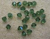 25 Green Tourmaline 5301 Bicone Swarovski Crystal Beads 4mm