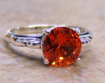 Lab Created Padparadscha Sapphire, Sterling Silver Ring, Cavalier Creations