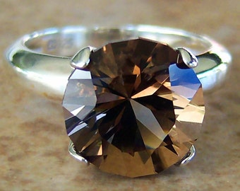 SALE, 4.6 Smoky Quartz Sterling Silver Ring, Cavalier Creations