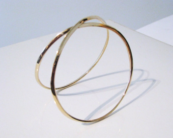 Solid Gold Infinity Cuff Bangle Bracelet 14K or 18K Any Color