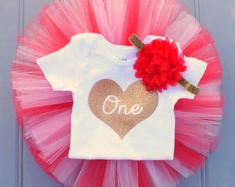 Valentine's Day Cake Smash Outfit Girl, First Birthday Outfit Girl, 1st Birthday Outfit, Red and Pink Tutu Skirt Set, Gold 1st Birthday