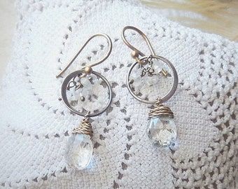 One of a Kind .925 Sterling Silver 14K Gold Filled Crystal Quartz Dangle Pierced Earrings