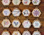 16 mini hexie pendant embroidery Pattern PDF -  designs necklace jewelry hexagon