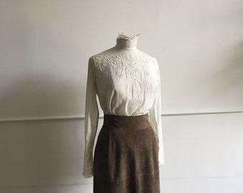 Antique Cotton High Collared Blouse.